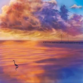 夕焼けと雲と海